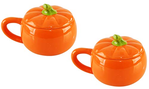 "HOME-X Ceramic Pumpkin Soup Bowl, Seasonal Serving Dish, Soup Bowl with Lid, Set of 2, Orange, 4"" D x 3 ½"" H"