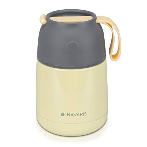 Navaris 450ml Thermobehälter für Essen - Edelstahl Warmhaltebox für Suppe Speisen Babybrei - Thermo Behälter Isolierbehälter auslaufsicher - gelb