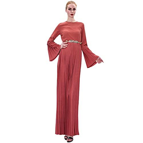 Fashion Abaya Dubai Muslim Women Pleated Dress Flare Sleeve Robe Turkish Kaftan 03 Orange Red L