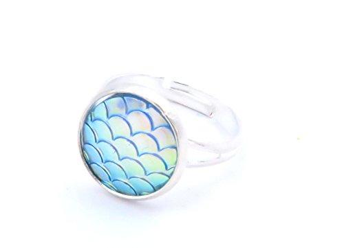 Meeresschimmer Cabochon Ring Schmuck Silber-Farben Meerjungfrau Fisch