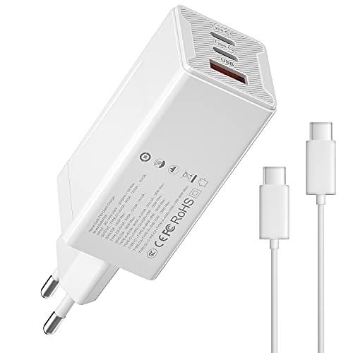 Magcubic Cargador USB C 65W Cargador USB Tipo C Carga Rapida 3 Puertos con USB-C Cable de 1,5m Soporta PD3.0 y QC4.0/3.0, para iPhone 12, SE, MacBook, Airpods Pro, Pixel, Galaxy S10 (1 Pack)