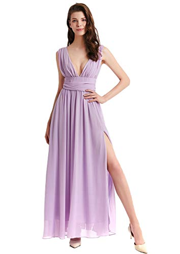 MYRISAM Women's Double V-Neck Chiffon Dress Side Slit Bridesmaid Wedding Prom Homecoming Cocktail Party Evening Ball Gown Lavender 6