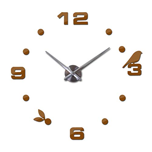 Aututer DIY Espejo Reloj de Pared 3D Gran Reloj de Cuarzo Moderno bodegón Reloj patrón de pájaro Pegatina Sala de Estar decoración del hogar Reloj de Pared