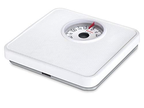 Soehnle Analoge personenweegschaal Tempo White met 130 kg draagvermogen, personenweegschaal met volzichtschaal in 1 kg verdeling, weegschaal met praktische afstelwiel