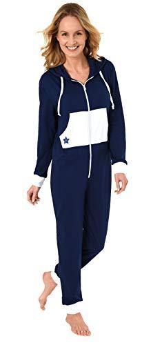 Damen Schlafanzug Einteiler Jumpsuit Overall mit Sterne Motiv - 281 267 90 842, Farbe:Marine, Größe2:40/42