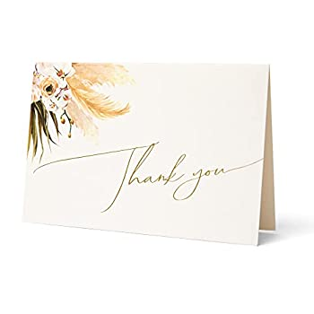 Anna Marie Collections Thank You Card Pack 4x6 Folded 25 Thank You Note Cards with 25 Kraft Envelopes Script Mini Thank You Cards perfect for  Wedding Bridal Shower Baby Shower Birthday.