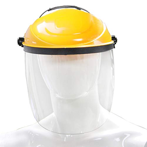 Clear Safety Face Shield Visor with Helmet - Easily Adjustable and Perfect for Welding and Grinding, Yellow