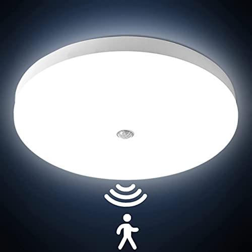 LED Deckenlampe mit Bewegungsmelder 30W LED Deckenleuchte 3000LM 6500K IP56 Wasserfest Ultra dünn PIR Sensor Leuchte deckenleuchten für Flur Balkon Treppe Veranda Garage Badezimmer kaltweiß Ø25cm