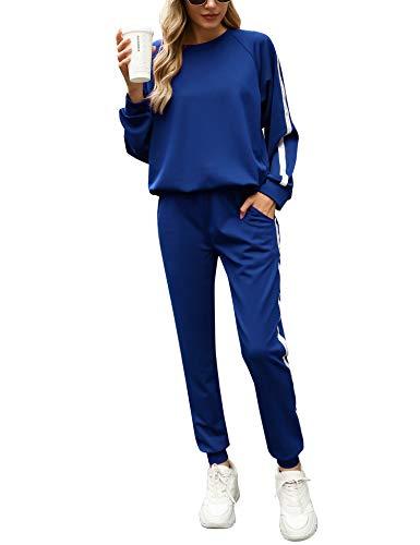 Irevial Jogginganzug Damen Set Freizeitanzug Sportanzug Trainingsanzug mit Streifen Taschen Fitnessanzug für Running Yoga Gym Sportswear