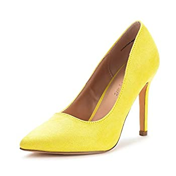 yellow suede pumps