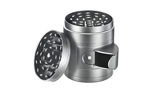 Herb and Spice Kitchen Grinder with Pollen Catcher 5-Piece Titanium Tobacco Grinder with Easy Access Window (Silver)
