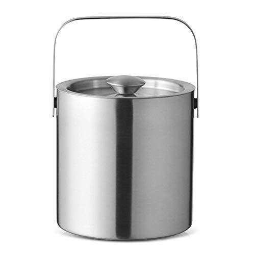 XJJZS Nivel de Acero Inoxidable Aislado Cubo de Hielo Cubo de Hielo del Recipiente Redondo Doble con Pinzas Tapa manija for Cocina refrigeradores de Gran Capacidad
