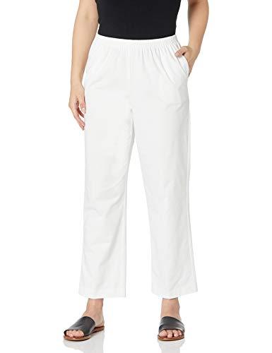 Alfred Dunner Women's All Around Elastic Waist Cotton Short Twill Pants, White, 14