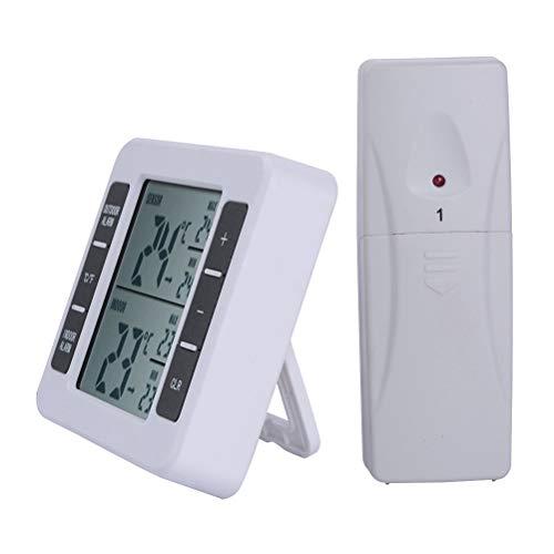 BESTonZON Kühlschrankthermometer Digital Gefrierschrank Thermometer Wasserdicht mit LCD Anzeige Funk Sensor