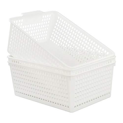 Kiddream Set of 3 White Storage Bins Plastic Baskets for Organizing