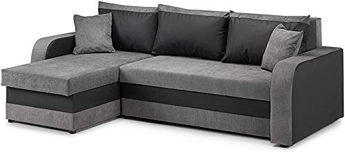 Moderno divano ad angolo letto con contenitori divano letto a due angolari,Blackgrey