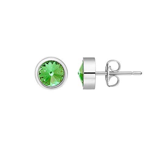 Heideman Ohrringe Damen Coma aus Edelstahl silber farbend poliert Ohrstecker für Frauen mit Swarovski Stein Kristall peridot grün im Fantasie Edelsteinschliff 6mm