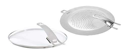 Fissler steelux premium Frypan Splatter-Shield & Glass-Lid Set, 8, 10, 12-Inch, Steel