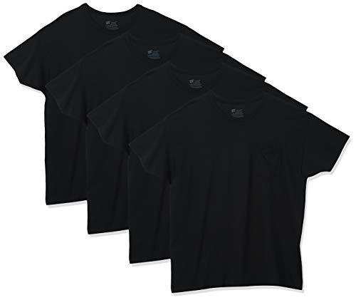 Hanes mens Freshiq Odor Control 4-pack Pocket Crew T-shirt undershirts, Black, 3X-Large US
