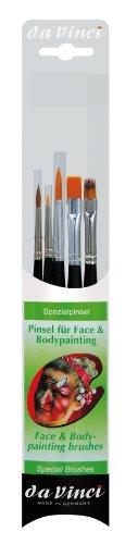 DA VINCI 5351 Series Juego de Pinceles para Pintura Facial y Cuerpo, Cerdas, Verde/Negro/Transparente, 30 x 30 x 30 cm