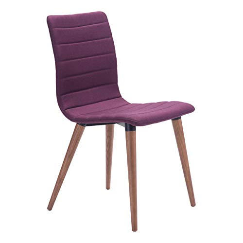 "Zuo Modern 100275 Jericho Dining Chairs (Set of 2), Purple, Poly-linen Upholstered Seam Detail, Slim Seat/Back Design, Sturdy all Wood Legs in Warm Walnut Finish, Dimensions 17.7""W x 33.9""H x 20.9""L"