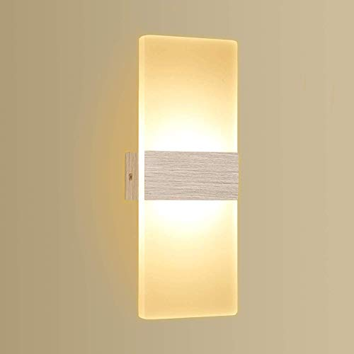 Apliques de Pared 12W Kimjo, Lámpara de Pared Interior LED Blanco Cálido 3000K AC 220V, Lámpara de Pasillo en Acrílico,...