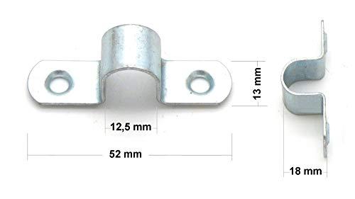 Rohrschellen für Rohre Durchmesser 12 mm, Stahl blau verzinkt (20 Stück)
