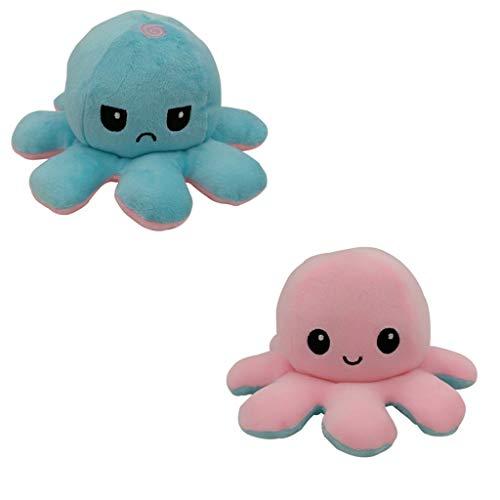 Reversible Tintenfisch Kuscheltierpuppe, Kreative Spielzeuggeschenke FüR Kinder Erwachsene Doppelseitige Flip Tintenfisch Puppe, Niedliche Tintenfisch PlüSchtiere H9