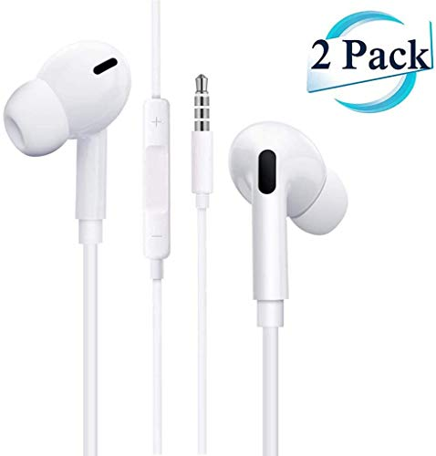 (2 Pack) Aux Headphones/Earbuds 3.5mm Wired Headphones Noise Isolating...