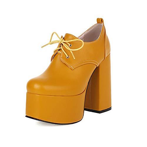 TYX Plataforma Tacones Altos, Correas Punta Redonda Tacones Gruesos Bloque Bombas Zapatos, Cuero Color Sólido Tacones Gruesos Mujer Zapatos Corte Clásicos,Amarillo,37