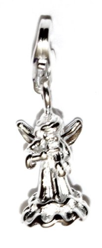 Charm Anhänger Engel mit Geige 3D 925 Silber