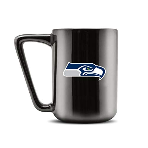 Duck House NFL Seattle Seahawks Keramik-Kaffeetasse, Metallic-Schwarz, 473 ml