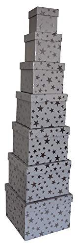 0 41748 Weihnachtsgeschenkkarton Sterne silber - 7 tlg, Würfel