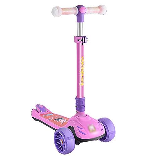 LJHBC Kickscooter Faltbarer Tretroller 3 Höhenverstellbar Anti-Rutsch-Wide-Deck mit PU LED leuchten Räder Mädchen Jungen Alter 3-12 Jahre alt (Color : Purple)