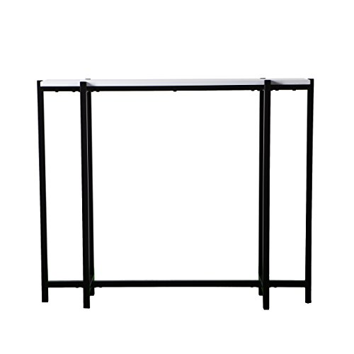 Narrow Skinny Console Table – Black Metal Frame w/White Top - Modern Entryway