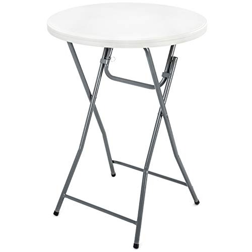 "Rhinolite 32"" Round Plastic Folding High Top Cocktail Table, 43.5"" Bar Height, Folding Steel Frame - Locking Pin for Extra Stability"