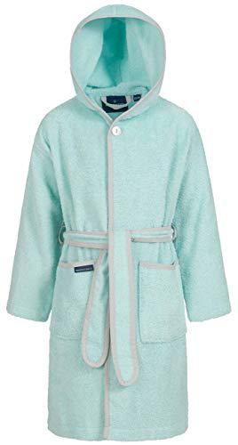 Morgenstern Baumwoll Kinderbademantel mit Kapuze einfarbig, Gr. 146/152,Blaugrün