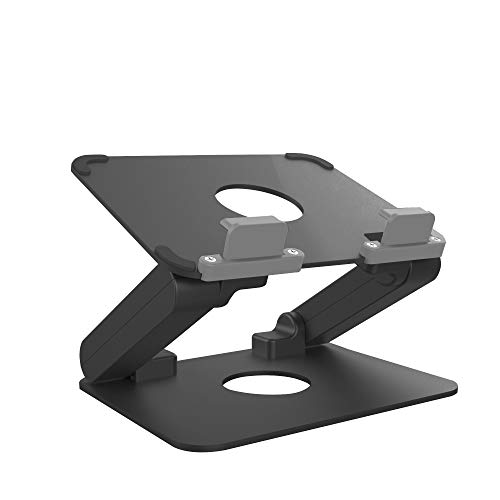 Aluminum Tablet Stand, Kavalan Ergonomic Foldable Height Adjustable Tablet Riser for Desk, Compatible with Apple iPad Samsung and All Tablets up to 13 inches (Black)