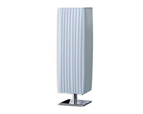 levandeo Nacht-Tischlampe Lampe weiß Latex - Leuchte Beleuchtung Licht Chromgestell 15x60x15cm