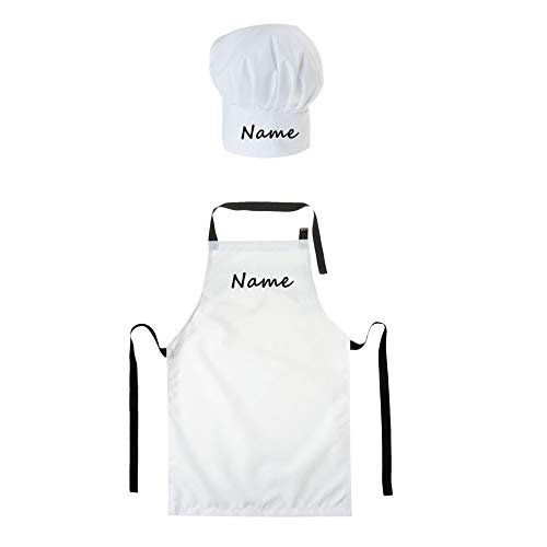 Personalisierte Kochmütze + Kochschürze SET 2tlg. Für Kinder Jungen und Mädchen Weiß Kochhaube Schürze mit Ihrem Wunschtext/Grafik Klettverschluss Weiß [099]