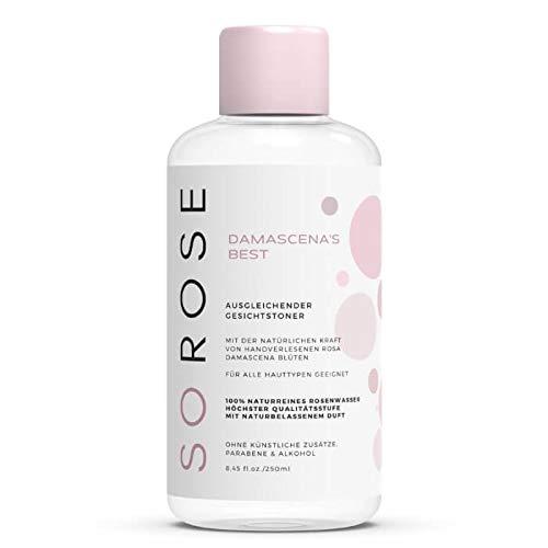 SOROSE Damascena's Best I Ausgleichender Gesichtstoner I Toner auf Basis von 100% naturreinem Rosenwasser - vegan ohne Parabene, Konservierungsstoffe, Silikone und Farbstoffe I Rose Water