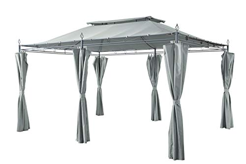 GRASEKAMP Qualität seit 1972 Garten-Pavillon Inca 3x4m Grau mit Seitenteil Sets geschlossen Party-Zelt Terrassen-Dach
