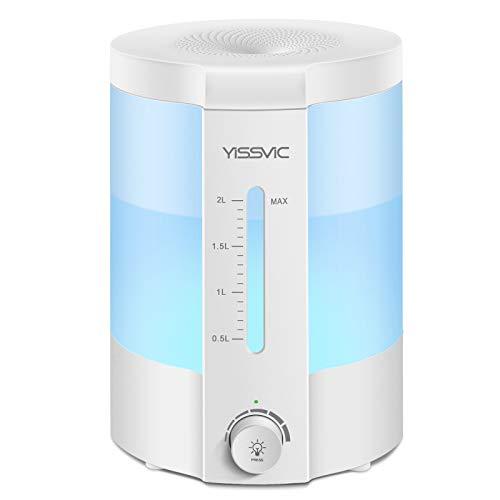Luftbefeuchter Ultraschall Aroma Diffuser 2-in-1 25dB Schlafmodus mit 10-Farben LED Auto-Abschaltung für Schlafzimmer Büro Yoga Spa von YISSVIC