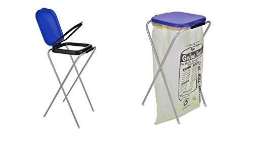 Benelando® Praktischer Müllsackständer mit blauem oder schwarzem Deckel (Blau)