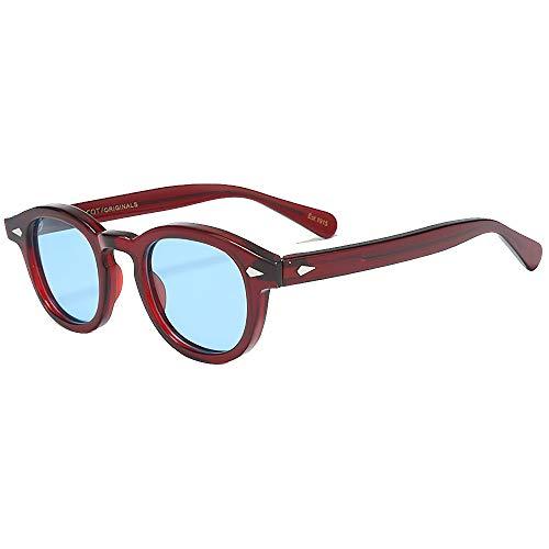 SHEEN KELLY Gafas de sol ovaladas retro para hombres, mujeres, capitán pirata, estilo Johnny Depp, lente polarizada, material de acetato