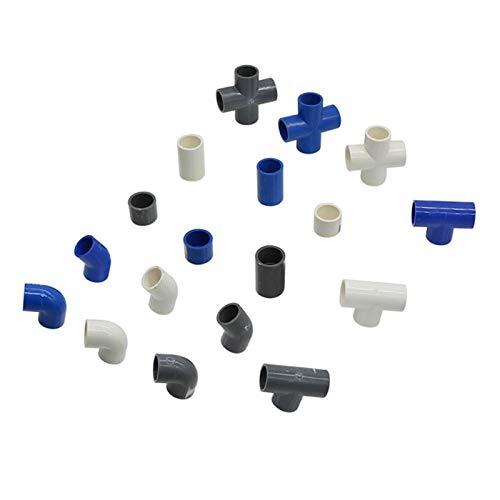 Vottle Raccordo per Tubo di Alimentazione idrica in PVC Raccordo a T a Croce Gomito Dritto Connettore uguale Diametro Interno 20mm Adattatore per irrigazione con Giunto in plastica