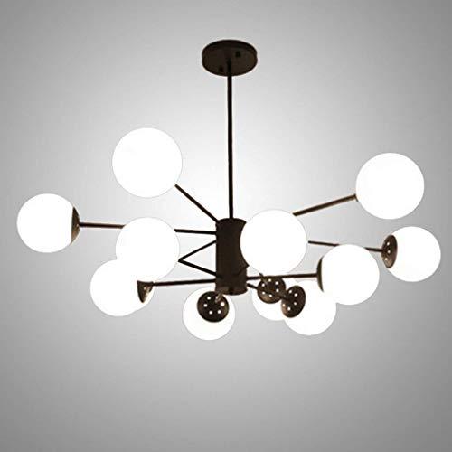 Xiao Fan * 12 lampen Modern Sputnik kroonluchter LED zwart Middeleeuwen hanglamp vintage industrie glas plafondlamp 70 x 94 cm