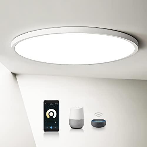 LEOEU LED Deckenleuchte Dimmbar, APP-Steuerung, 20W 2200LM 2,4CM Ultra Dünn Rund Deckenlampe für Wohnzimmer, Balkon, Flur, Kompatibel mit Alexa und Google Assistant, Ø29.3CM WIFI