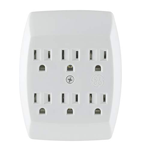 GE 6 Outlet Adapter, 3 Prong Outlets, Grounded, Wall Charger, Charging Station, White, 54947