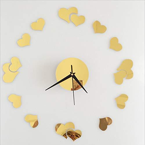 KaiXINSun Espejo Pegatinas De Pared Reloj De Pared Amor Corazón Mudo Tatuajes De Pared Estudio Dormitorio Sala Comedor DIY Reloj Decorativo Mural 30X30 Cm Oro
